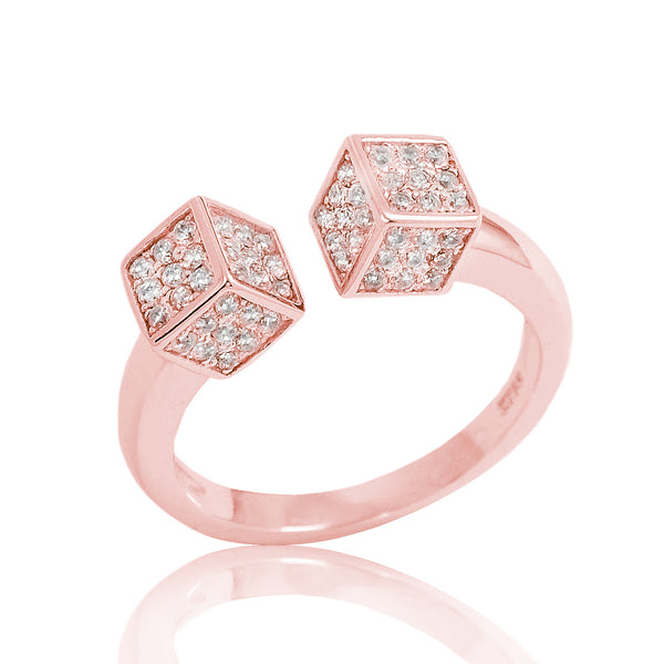 Rose Gold Plated 925 Sterling Silver CZ Fancy Dice Ring Wholesale