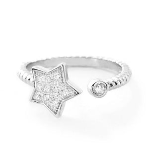5pcs/Lot CZ Sterling Silver Star Ring Wholesale