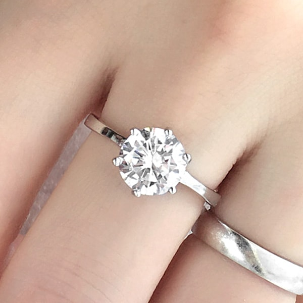 3.35ct CZ Silver Engagement Ring Wholesale