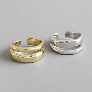 Sterling Silver Line Double Layer Open Rings Wholesale