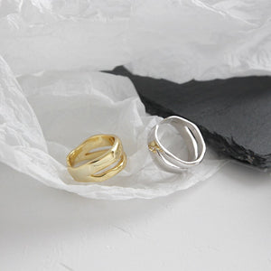 Sterling Silver Line Double Layer Open Rings Wholesale 2