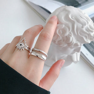 Sterling Silver Line Double Layer Open Ring Wholesale