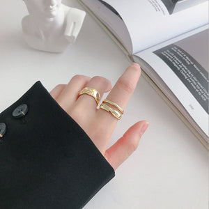 Sterling Silver Line Double Layer Open Rings Wholesale 4