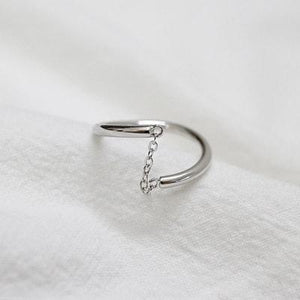 Wholesale Sterling Silver Minimalist Ring with Line Chain 3