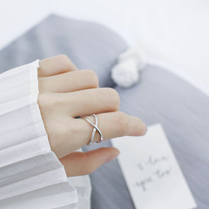 Silver CZ Criss Cross Ring for Women Wholesale 3