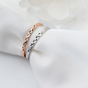 Sterling Silver Minimalist Thin Diamond Cut Stacking Ring Wholesale