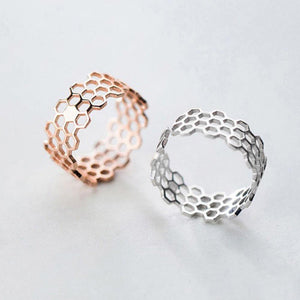 Sterling Silver Hollow Geometric Open Ring Wholesale 2