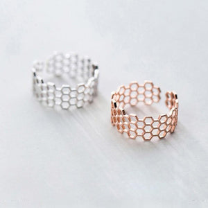 Sterling Silver Hollow Geometric Open Ring Wholesale 3