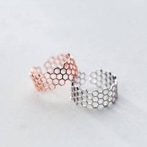 Sterling Silver Hollow Geometric Open Ring Wholesale