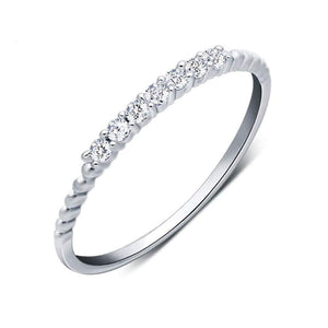 Minimalist CZ 925 Silver Stacking Ring Wholesale 6