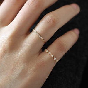 Dainty Gold Plated Sterling Silver Thin Cubic Zirconia Rings Wholesale 2