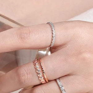 Engagement Wedding Band Stacking Bezel Set CZ Ring Wholesale 3