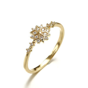 925 Sterling Silver CZ Fashion Snowflake Ring Wholesale