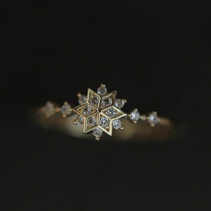 925 Sterling Silver CZ Fashion Snowflake Ring Wholesale  2