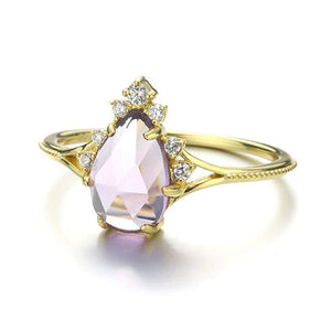 Elegant Sterling Silver Natural Pear Amethyst Ring Wholesale 2
