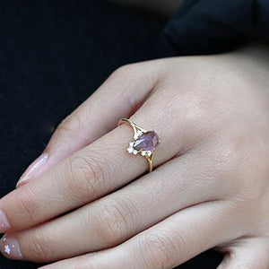 Elegant Sterling Silver Natural Pear Amethyst Ring Wholesale 4