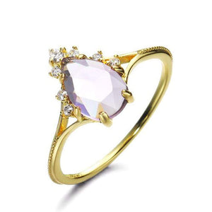 Elegant Sterling Silver Natural Pear Amethyst Ring Wholesale