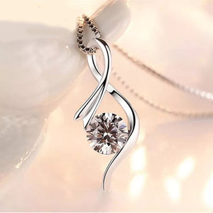 "0.80 Carat CZ Sterling Silver Pendant Necklace 16""+ 2"""