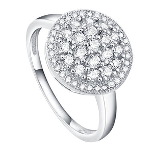 925 Sterling Silver Micro Pave Setting Cubic Zirconia Ring