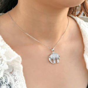 Fashion CZ 925 Silver Elephant Necklace Wholesale