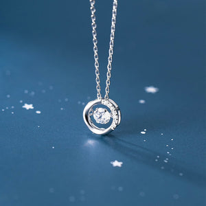 Silver Simple Cubic Zirconia Dangling Necklace Wholesale