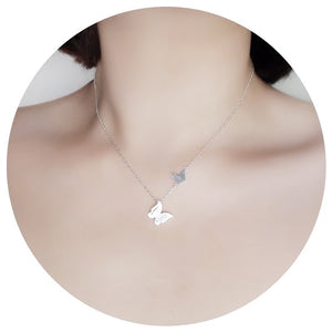 Silver Butterfly Collarbone Chain Necklace Jewelry Wholesale 2