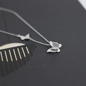 Silver Butterfly Collarbone Chain Necklace Jewelry Wholesale 4