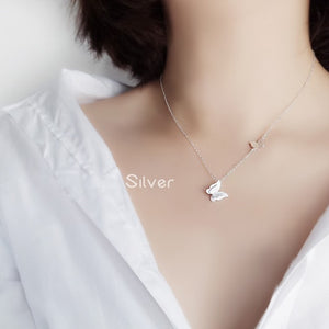 Silver Butterfly Collarbone Chain Necklace Jewelry Wholesale 3