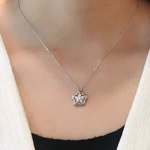 CZ Sterling Silver Floral Necklaces Wholesale
