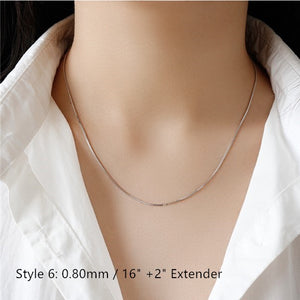 Sterling Silver Box Chain Snake Chain Wholesale 10