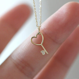 Sterling Silver Heart Key Pendant Necklace Wholesale
