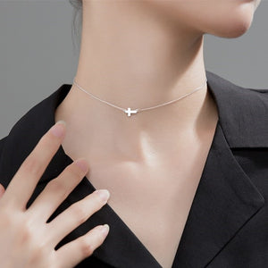 Tiny Cross Sterling Silver Necklace Wholesale