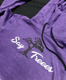 "Say Treees ""Purple/Black"" Crop-Top Hoodie"