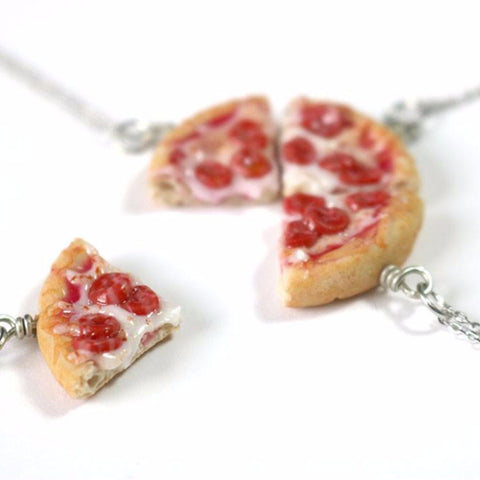 Best Friends Pepperoni Pizza Necklace, Miniature Food Jewelry, Polymer Clay Food Jewelry