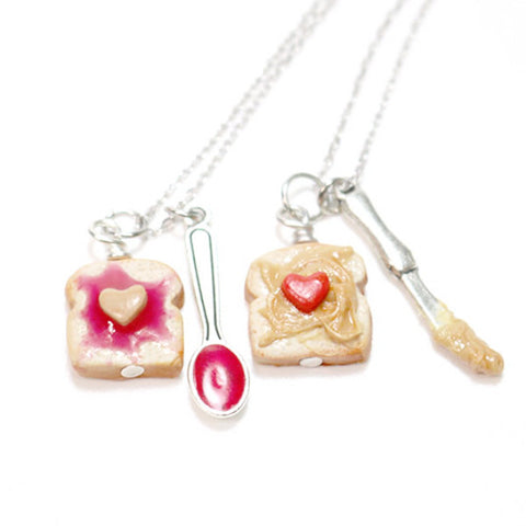 Strawberry Jam Peanut Butter Best Friend Necklaces, Miniature Food Jewelry