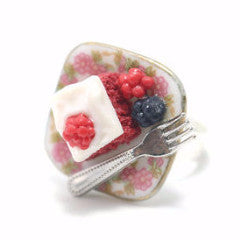 Red Velvit Square Cake Ring, Miniature Food Jewelry, Polymer Clay Food Jewelry