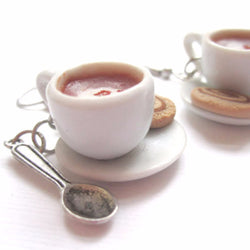 Chai Latte Tea Cup Earrings, Miniature Food Jewelry, Polymer Clay Food Jewelry