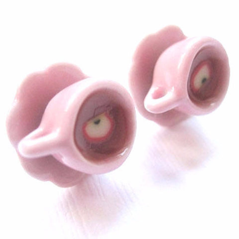 Pink Tea Cup Earrings, Miniature Food Jewelry, Polymer Clay Food Jewelry