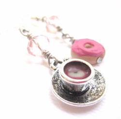 Donut and Tea Earring Collection, Miniature Food Jewelry, Polymer Clay Food Jewelry