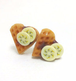 Waffle Heart Chocolate Earrings, Miniature Food Jewelry, Polymer Clay Food Jewelry