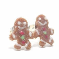 Gingerbread Christmas Earrings, Miniature Food Jewelry, Polymer Clay Food Jewelry