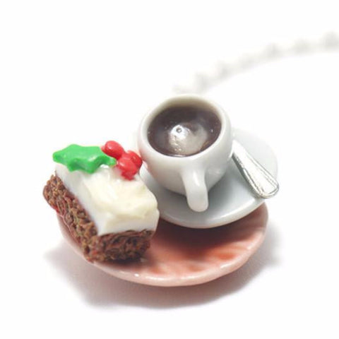 Christmas Cake with Latte Necklace, Miniature Food Jewelry, Polymer Clay Food Jewelry