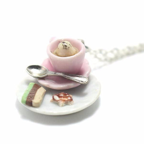 White Hot Chocoalte Necklace, Miniature Food Jewelry, Polymer Clay Food Jewelry