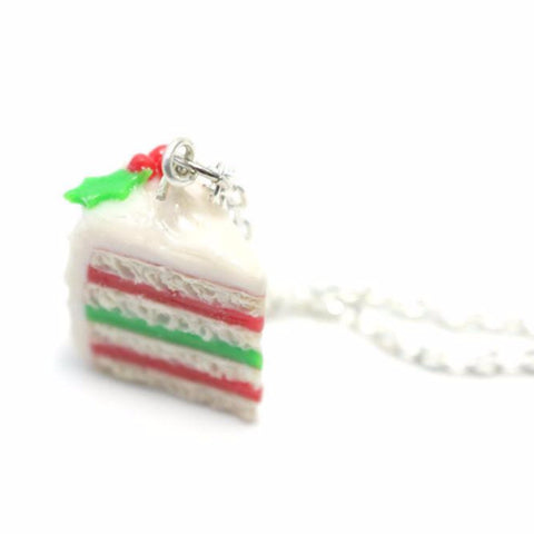 Christmas Cake Necklace, Miniature Food Jewelry, Polymer Clay Food Jewelry