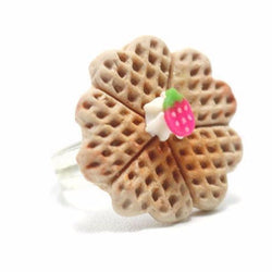 Belgium Heart Waffle Ring, Miniature Food Jewelry, Polymer Clay Food Jewelry