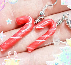 Candy Cane Earrings, Miniature Food Jewelry, Polymer Clay Food Jewelry