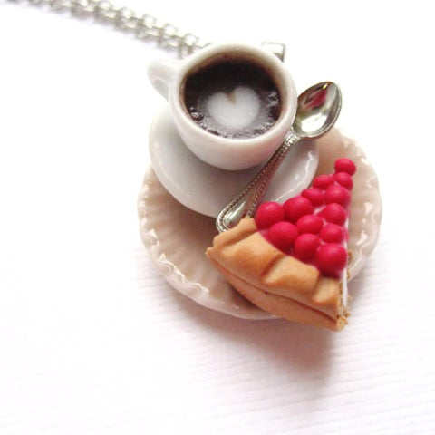 Berry Cheesecake and Latte Necklace, Miniature Food Jewelry, Polymer Clay Food Jewelry