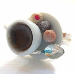Coffee and Timbits Ring, Miniature Food Jewelry, Polymer Clay Food Jewelry
