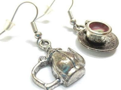 Teapot and Tea Cup Earrings, Miniature Food Jewelry, Polymer Clay Food Jewelry