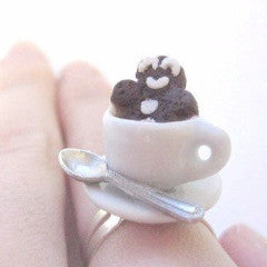 Gingerbread Man in Latte Ring, Miniature Food Jewelry, Polymer Clay Food Jewelry